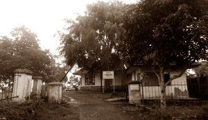 """Gambar: Bekas kantor perkebunan peninggalan Belanda yang pernah dijadikan """"kamp konsentrasi"""" Tapol 65, sebelum dibunuh. Di halaman samping ada tempat penguburan mayat Tapol, dan di bagian belakang, di sisi hutan karet (sekarang kebun sawit) juga digunakan untuk pembantaian Tapol. [Foto: Dok. Istimewa]"""