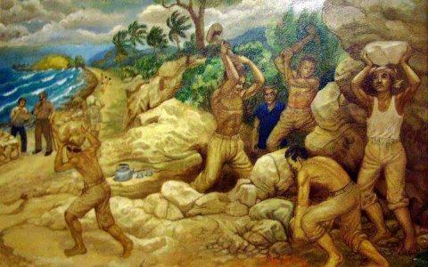 "Illustrasi: Lukisan ""Kerja Paksa"", (cat minyak, 120×180 cm; 2007) karya Sudiono SP (alm)."