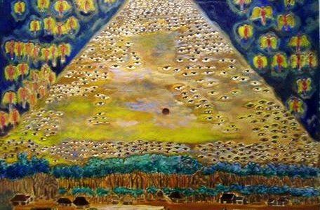 """Illustrasi: Karya Amrus Natalsya, perupa dan pendiri SBT (Sanggar Bumi Tarung) """"Mata Malaikat sebagai saksi""""."""