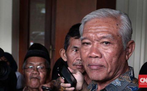 Bedjo Untung dan beberapa anggota YPKP 65 saat menyambangi Kemenkopolhukam, Mei lalu terkait korban pembunuhan 1965. (Foto: CNN Indonesia/Andry Novelino)