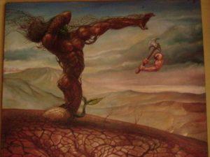 """""""Pembalakan Hutan"""", lukisan: Mardadi Untung"""