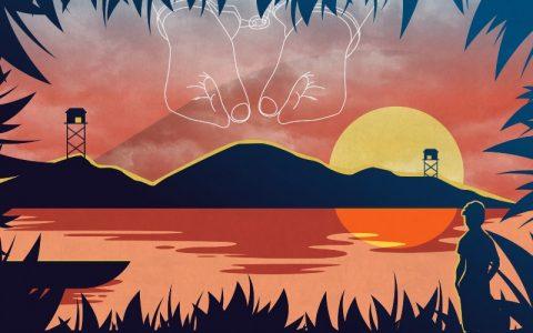 Membaca buku-buku petualangan Karl May, penulis Eka Kurniawan ketika SMP mengarungi sungai Citanduy hingga ke Pulau Nusakambangan. Di pulau ini orang-orang yang diduga anggota PKI dan simpatisannya ditahan sebelum diasingkan ke Pulau Buru. (Ilustrasi: Desyanto Lie)