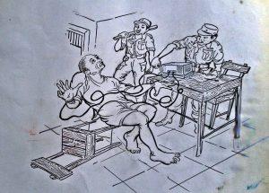 SETRUM: Sketsa karya Mardadi Untung yang melukiskan cara militer menyiksa para tapol 65 dengan setruman listrik bertegangan tinggi [Foto Kredit: Mardadi Untung]