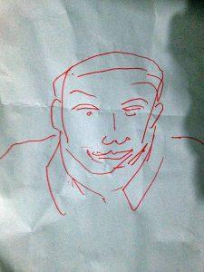 SKETSA: Gambar sketsa pertama yang dibuat Mardadi Untung pasca kebutaan [Foto: Humas YPKP 65]