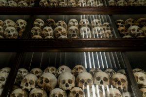 """Penduduk desa memanen padi di Anlong Veng. """"Kami semua korban,"""" kata seorang mantan pejabat Khmer Merah. Kredit Adam Dean untuk The New York Times"""