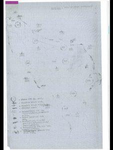 """Peta kematian."" Angka yang dilingkari menunjukkan lokasi pemusnahan. (Dokumentasi pribadi Jess Melvin)"