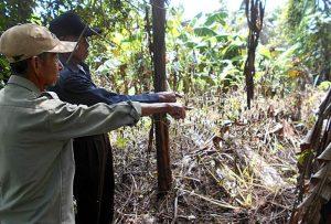 LOKASI PEMBANTAIAN: Dua orang saksi sejarah menunjukkan lokasi pembunuhan massal orang-orang yang dituduh komunis di Sindangheula Brebes [Foto: Humas YPKP 65]