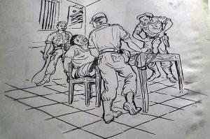 """SCREENING: Lukisan sketsa Mardadi Untung yang menggambarkan pengalaman tapol menghadapi interogasi """"tim screening"""" pasca tragedi 65. Siksaan fisik, terutama pada bagian kepala yang berulang-ulang, disinyalir jadi penyebab sindrome syaraf penglihatan yang membutakan mata kanannya [Kredit Gambar: Sketsa Mardadi Untung]"""