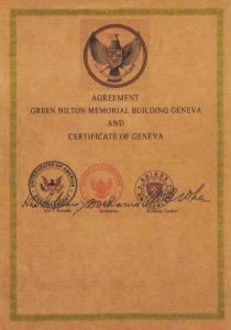 Dokumen yang diduga The Green Hilton Memorial Agreement, terlihat diduga ditanda tangani oleh Soekarno, Johnd F. Kennedy dan William Vouker.