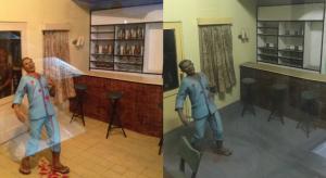 Foto di sebelah kiri, diambil pada 2013, menyoroti botol minuman miniatur yang terlihat di bar Yani. Dalam foto di sebelah kanan, dari Januari 2019, bar-nya telah dibersihkan agar tidak menyinggung perasaan Islam. Foto oleh Michael G. Vann.