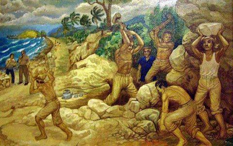"""""""Kerja Paksa"""", cat minyak, 120x180 cm, Tahun 2007, Karya: Sudiono SP (alm)."""