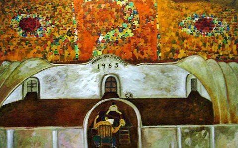 """Lukisan """"Interogasi"""", karya: Amrus Natalsya"""