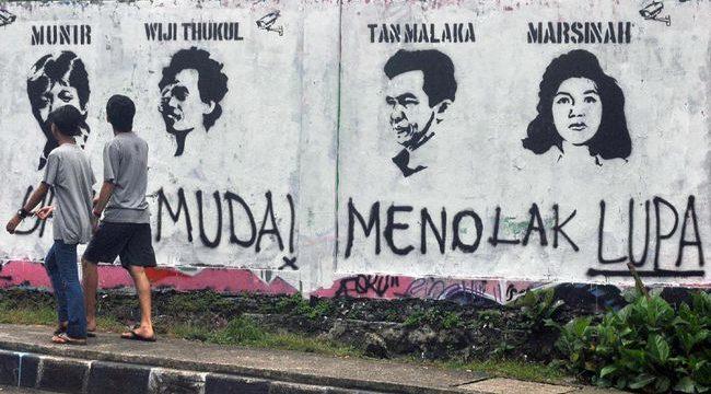 Mural kasus pelanggaran HAM. (ANTARA FOTO/Arif Firmansyah)