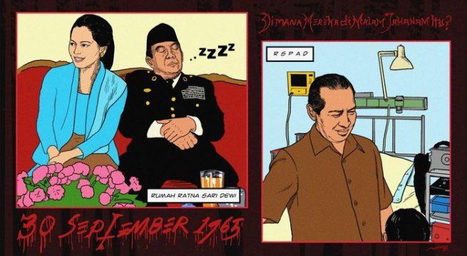 Malam 30 September 1965: Sukarno di rumah Dewi; Soeharto menunggu anaknya yang sakit di RSPAD, lalu pulang ke rumahnya. tirto.id/Deadnauval